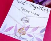 Friendship necklace GIFT SET, TWO infinity heart necklaces, best friend gift, two necklaces, sister gifts, sorority sisters, sisterhood