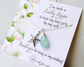 Bridesmaid thank you card with Aqua necklace, Bridal party gift set, Starfish Y necklace, be my bridesmaid, bridesmaid gifts, Otis B Etsy,