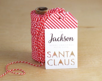 Santa Gift Tag Personalized, Christmas Gift Tags, From Santa, Gift Giving, Paper Goods