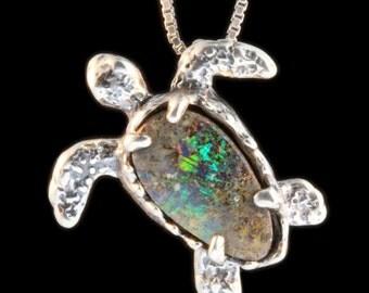 Sea Turtle Necklace Turtle Jewelry Necklace Australian Opal Shell Sea Turtle Seattle Pendant Turtle Charm Opal Jewelry Moonstone Jewelry