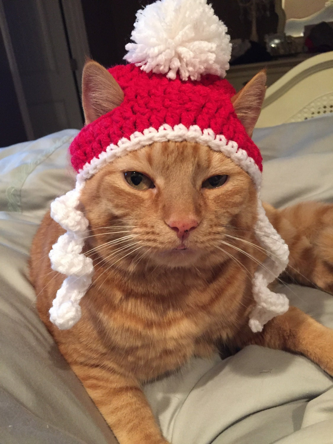 Crochet Christmas Santa Beanie Hat For Cat Or By Sewbeautiful2