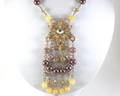 Boho Chic Flower Necklace Amber Yellow Brown Glass Faux Pearl Filigree Bib