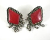 Boho Hippie Earrings - Belly Dancers Red Tribal Earrings - Tibet Silver Vintage Jewelry