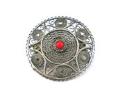 Sterling Coral Brooch - Vintage Sterling Silver Filigree Red Coral Geometric Round Brooch Pin