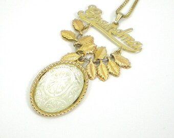 Carved Glass Grandma Necklace Gold Vintage Jewelry