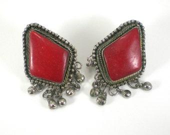 Boho Hippie Earrings - Belly Dancers Red Tribal Earrings - Tibet Silver Vintage Jewelry