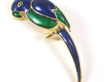 Parrot Bird Brooch Pin - Gold Green Blue Enamel Brooch - Animal Figural Vintage Jewelry
