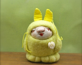 OOAK Needle Felted Doll in Yellow Bunny Costume Ready to Ship