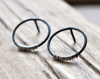 Silver Lining Small Hoop Earrings - Grey Oxidised Sterling Silver with a Splash of Contrasting Bright Sterling Silver Coil.