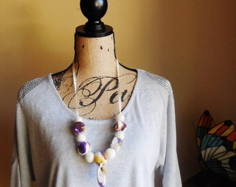 Fiber Art Necklace...Unique Gift...Wearable Art necklace...Sandy Beach ... Necklace ... Hand Felted Beads ... Two in One ...