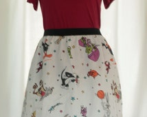 "Awesome Space Jam Ladies Skirt from vintage upcycled fabric - - 30"" - 34"" waist"