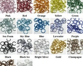 "18ga 1/4"" Shiny Anodized Aluminum Multi-Color Jump Ring Kits - Saw Cut - (1.2mm x 6.7mm)"