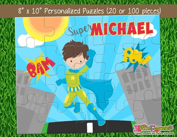 superhero puzzle personalized 8 x 10 puzzle personalized name