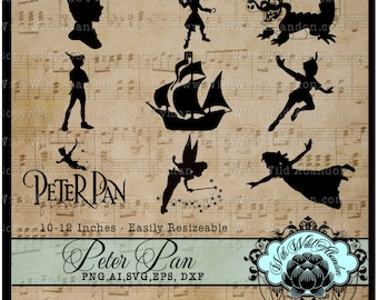 Peter Pan, Captian Hook, Tinkerbell Clipart, Vector, Cutting file, Pattern, png, svg,ai,eps, dxf