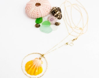 Hawaiian Sunrise Shell Long Necklace - 14K Gold Filled