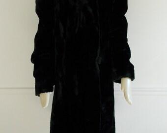 vintage 1940s black faux fur coat/ WWII swing coat/ 40s winter coat/ film noir jacket