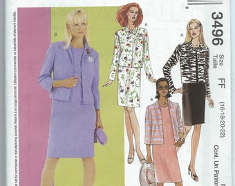 McCall's 3496 Misses'/Misses' Petite Dress and Lined Jackets - Size 16-18-20-22 - Uncut Pattern