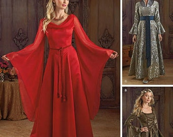 Medieval Dress Pattern - Simplicity 1045 Pattern- Misses' Costume Gown - Full length gowns with hanging sleeves - US Sizes: 6 - 12 or 14 -20