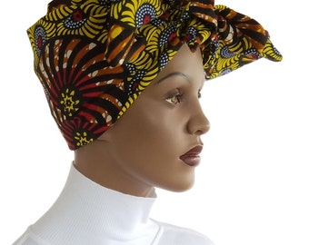 African Head Wrap Hat Scarf Cotton Yellow Brown Red Wrap Satin Lined  Genuine Angel Cotton Chemo Hat Natural Hair Wrap Turban Handmade
