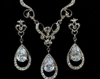 Bridal Jewelry Set, Vintage Victorian Wedding Earrings, Teardrop Bridal Necklace, Cz Bridal Earrings, Crystal Wedding Jewelry, HELENA