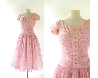 50s Party Dress / Pink Chiffon Dress / 1950s Dress / Floral Prom Dress / Small S