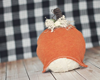 6 to 12 month pumpkin hat // Halloween photo prop // fall pumpkin up cycle // ready to ship next day //baby fall photo prop // cinnamon