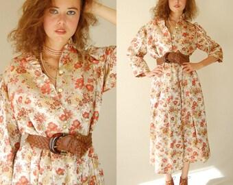 Satin Brocade Dress Vintage 60s Ivory Asian Floral Brocade Party Dress (l xl)