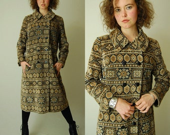 Structured Tapestry Coat Vintage 60s Gypsy Brocade Tapestry Carpet Bag Bohemian Double Button Coat (m l)