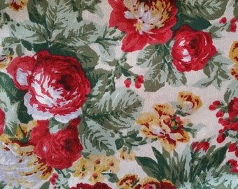 045 ~ Christmas fabric Roses fabric Red roses Yellow flowers Greens