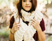 Winter White Oversized Traditional Knit Scarf // Super Bulky Soft White Knit Open Ended Scarf // Unisex Huge Winter Snood