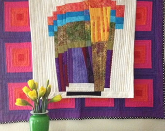 """Wall Hanging Abstract Art Quilt """"Portal"""""""
