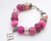 PINK POWER - European Style Beaded Charm Bracelet - Valentine's Day Jewelry
