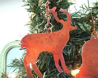Deer Ornament Maine Souvenir Santas Reindeer Christmas Decoration Rustic Copper Holiday Decor Woodland Animal Metal Wall Hanging Door Hanger