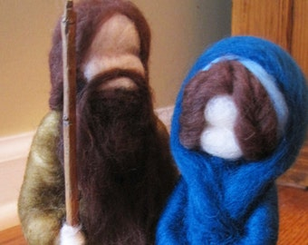 Waldorf Felted Wool NATIVITY Creche Christmas Set Needlefelted by Anthroposophic Fiber Artist KELLY SUNDSTROM