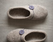 Women slippers Gift for her Comfort house shoes beige clogs with grey violet button Natural wool slippers Organic wool felted home shoes