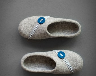 Grey felted slippers Women house shoes with black rubber sole Natural gray organic wool clogs Eco friendly home shoes Boiled wool slippers