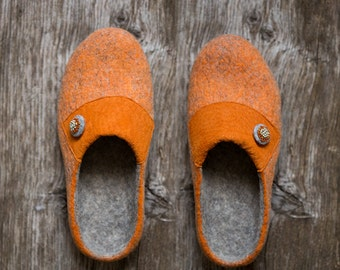 Womens slippers Rustic orange leather grey felted clogs with black rubber sole Gift for her Handmade felt warm wool loafers