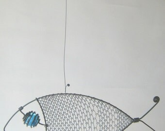 Animal Sculpture Turquoise - Eyed Wire Fish