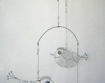 Wire Art Sculpture / Three Metal Birds Mobile Sculpture / Mobile Fil De Fer