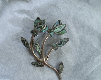 Vintage Mexican Sterling Silver Branching Floral Brooch, Beautiful Abalone Inlay