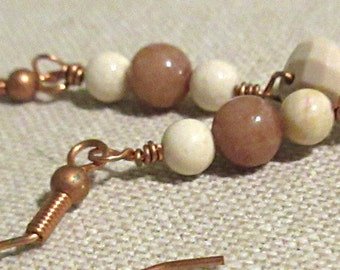 Pi Jewelry - Tan White Pi Earrings - Math Teacher Graduation Birthday Christmas Gift