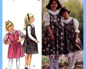 770 Simplicity 9237 Girls Raised Waist Jumper Petticoat Blouse Top Dress size 3 4 5 6 Easy to Sew Vintage Pattern Uncut