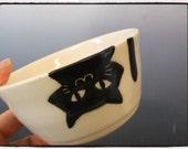 Upside Down Black Cat Bowl in White by misunrie