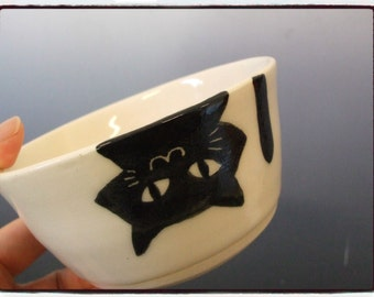 Upside Down Black Cat Bowl in White by misunrie