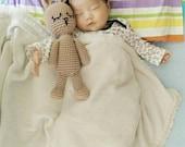Crochet stuffed bunny - handmade cute 100 cotton light soft baby pale pink brown amigurumi rabbit toddler kid girl boy plush toy doll animal