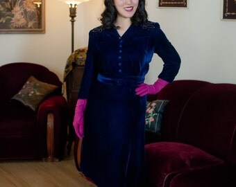 Vintage 1940s Dress - Gorgeous Blue Rayon Velvet Dress Early 40s Dress with Brass Studded Shoulders