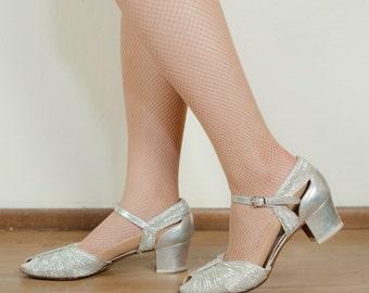 Vintage 1930s Shoes - Glittering Silver Lurex Woven Peeptoe 30s Heels Size 7.5 M