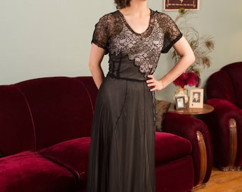 Vintage 1940s Dress - Exquisite Sheer Black Silk Chiffon 40s Gown with Chantilly Lace Bodice and Skirt Detailing
