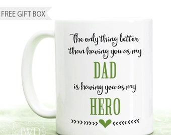 Gift from Son My Dad My Hero Gift Best Dad Ever Coffee Mug Gift from Daughter Personalized Gift for Dad #CM519