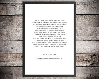 Printable Love Poem 'How do I Love Thee?' Elizabeth Browning Instant Download Romantic Poster Instant Poetry Print Hand Typed Love Sonnet 43